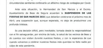 Suspensión de las Fiestas de San Marcos 2021